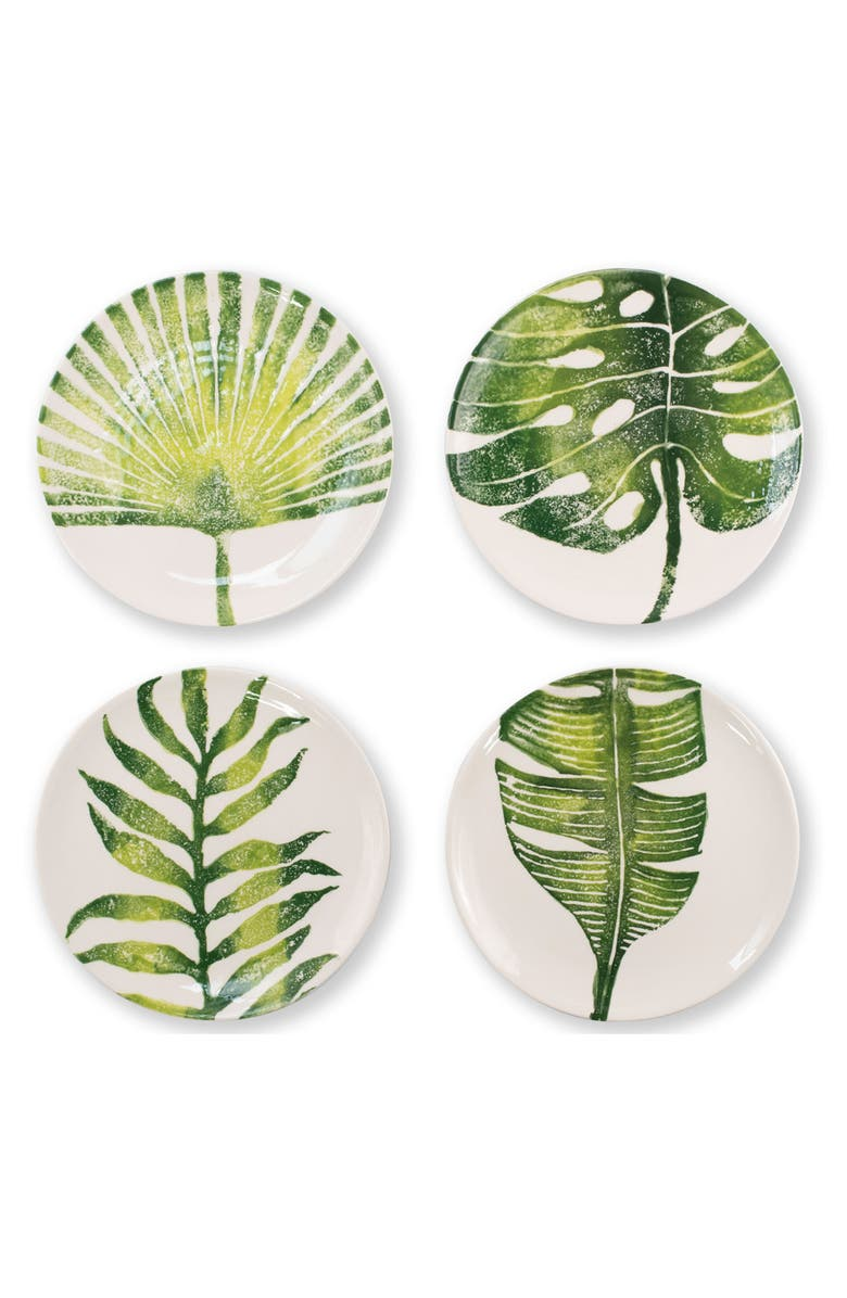 VIETRI Into the Jungle Set of 4 Assorted Salad Plates, Main, color, GREEN
