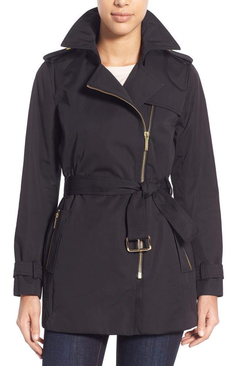 MICHAEL MICHAEL KORS Asymmetrical Zip Sateen Trench Coat, Main, color, 001