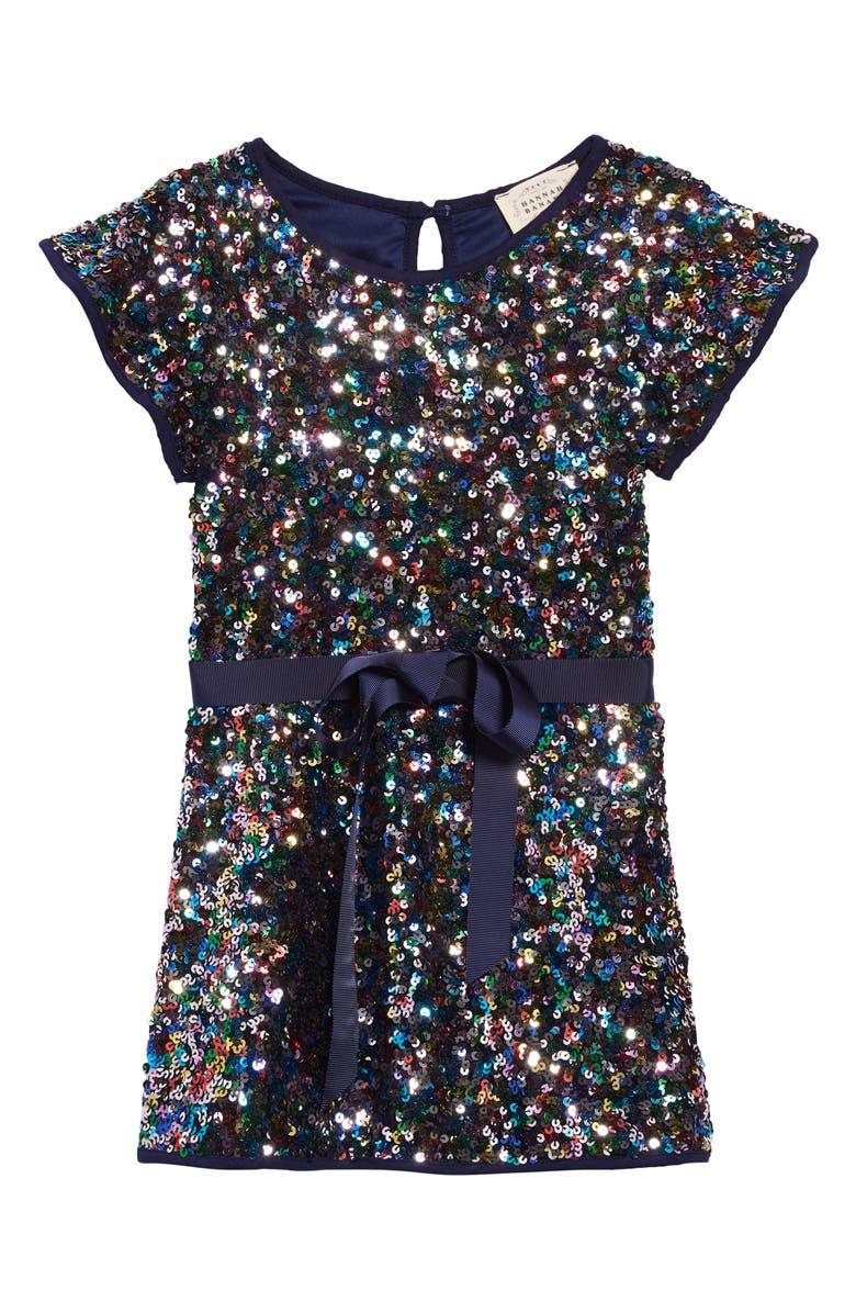HANNAH BANANA Flutter Sleeve Sequin Shift Dress, Main, color, BLUE