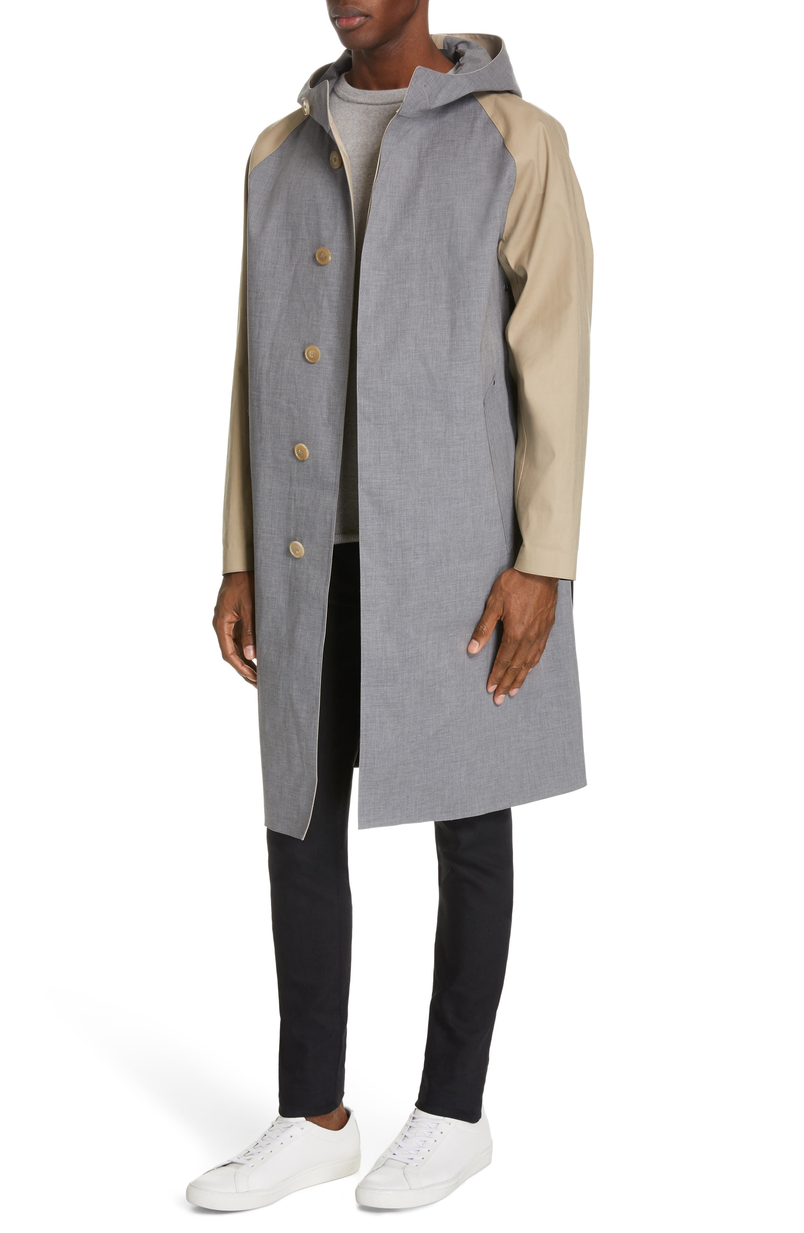 ,                             Bonded Cotton Hooded Jacket,                             Alternate thumbnail 4, color,                             LIGHT TOP GREY/ INK