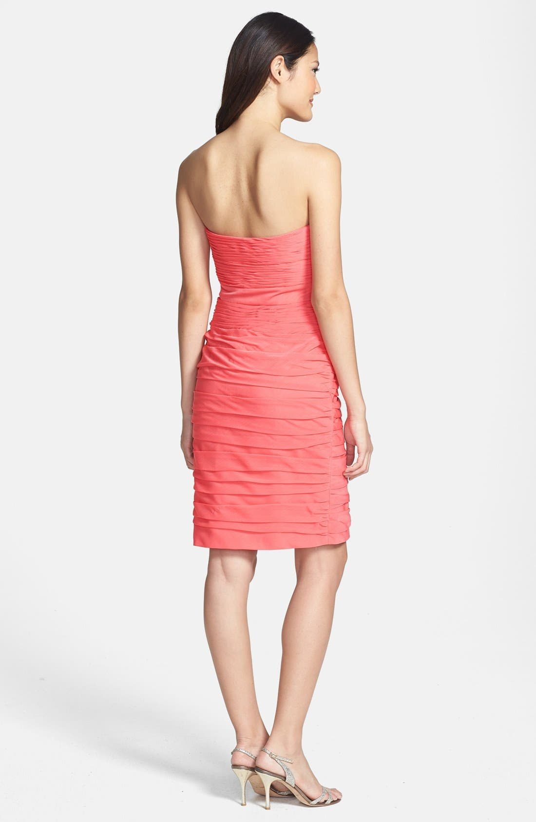 ,                             Ruched Strapless Cationic Chiffon Dress,                             Alternate thumbnail 78, color,                             805