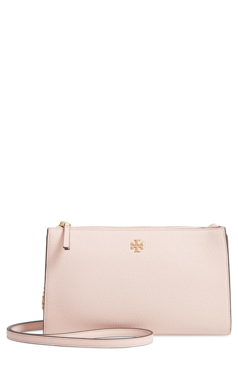 TORY BURCH Pebbled Leather Top Zip Crossbody Bag, Main, color, SHELL PINK