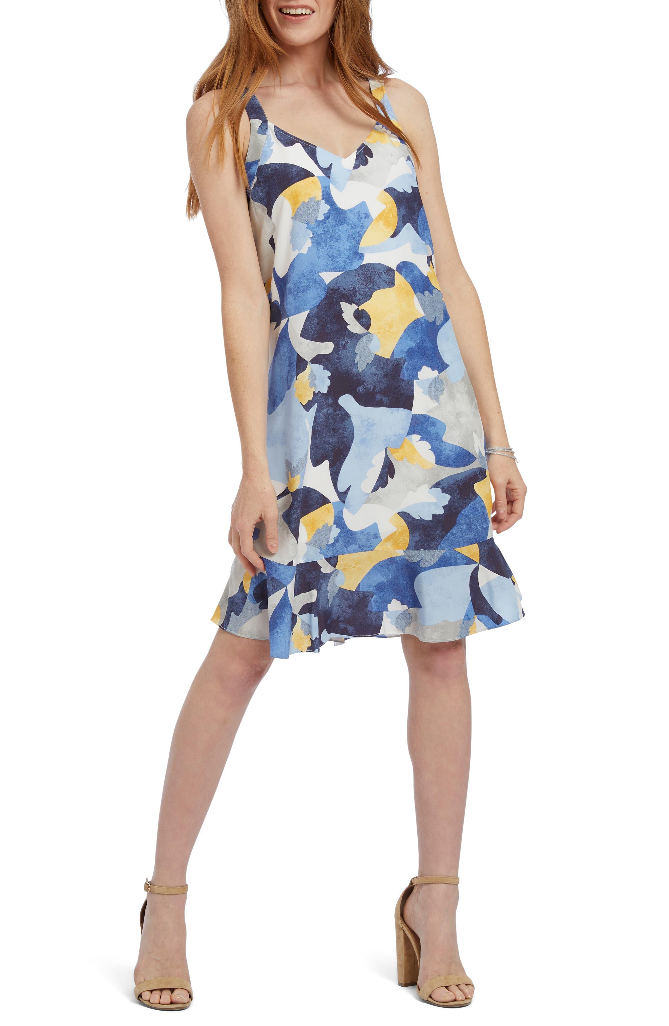 Petite Nic+Zoe Sun Seeker Sleeveless Shift Dress, Blue