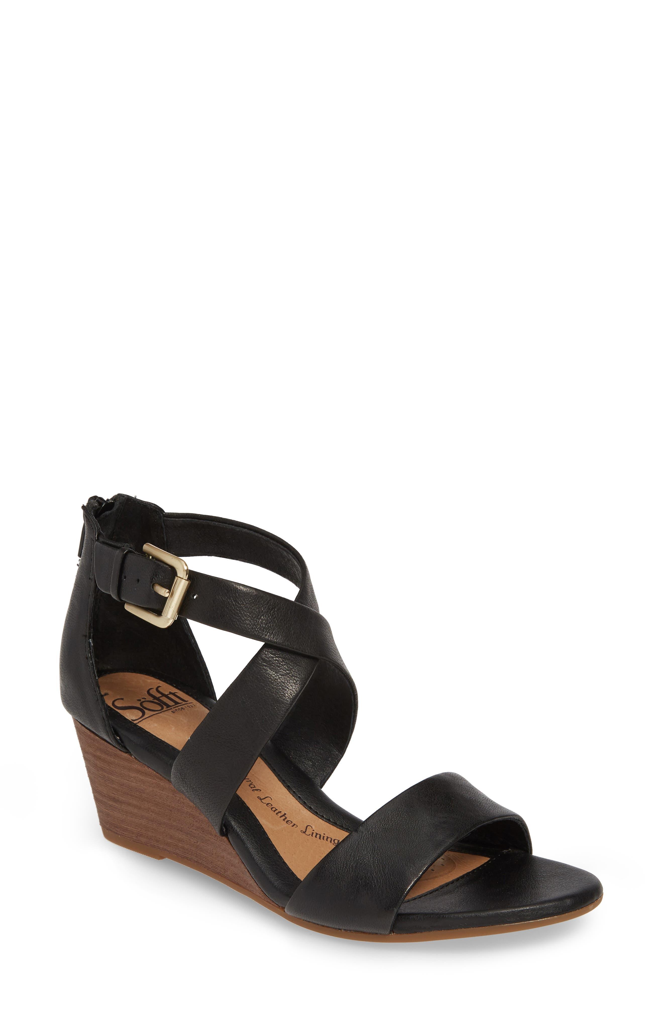 Mauldin Wedge Sandal, Main, color, BLACK