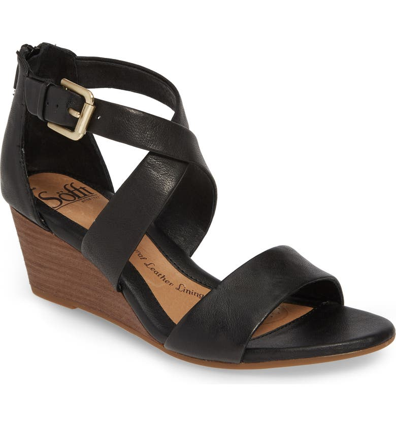 SÖFFT Mauldin Wedge Sandal, Main, color, BLACK