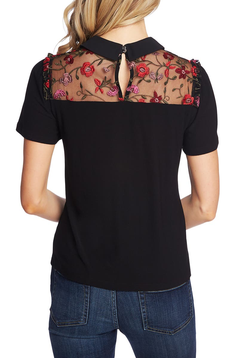Tie Neck Embroidered Top, Alternate, color, RICH BLACK