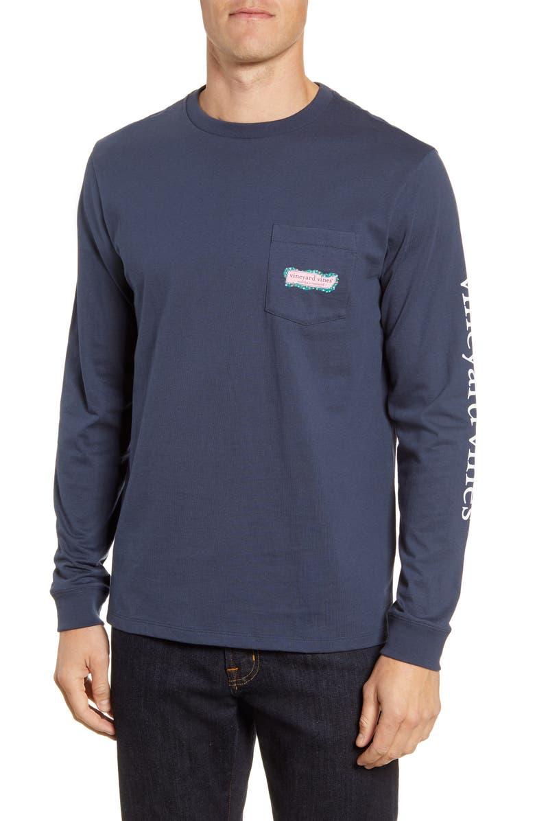 VINEYARD VINES Garland Logo Box Long Sleeve Pocket T-Shirt, Main, color, 400