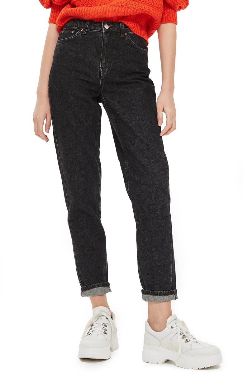 TOPSHOP High Waist Mom Jeans, Main, color, 003