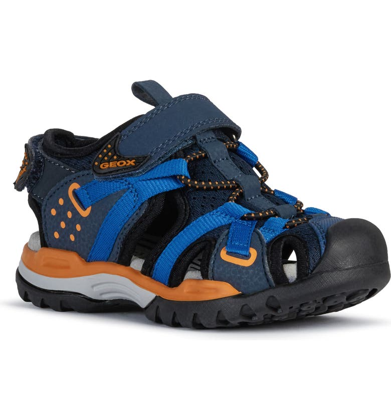 GEOX Borealis Sandal, Main, color, NAVY/ ORANGE