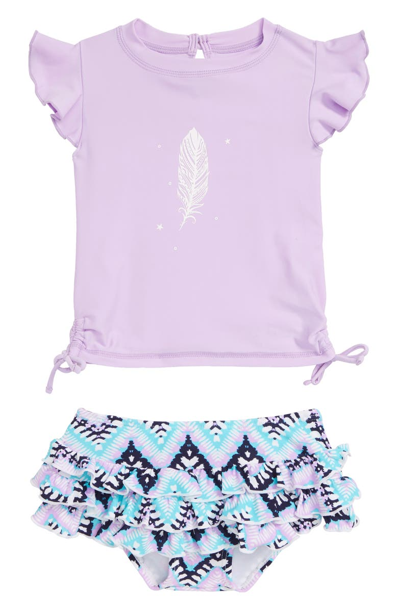 SNAPPER ROCK Boho Two-Piece Short Sleeve Swimsuit, Main, color, LAVENDER