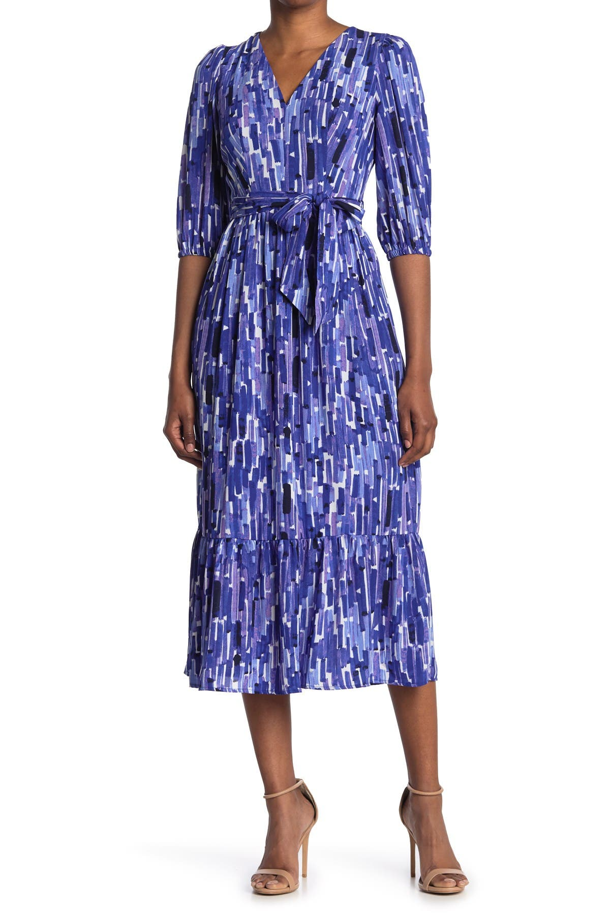 Image of Donna Morgan V-Neck Tiered Tie Waist Maxi Dress