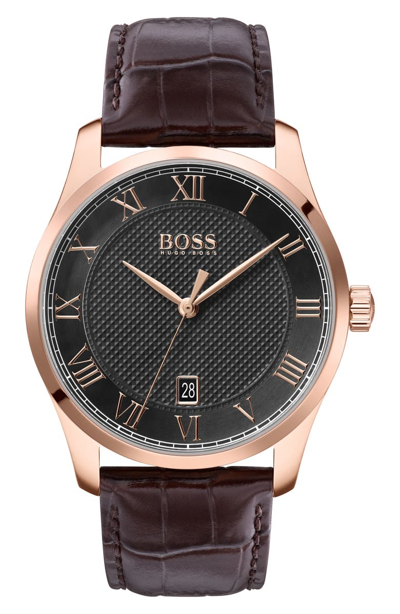 BOSS Master Classic Leather Strap Watch, 41mm, Main, color, BROWN/ GREY/ ROSE GOLD