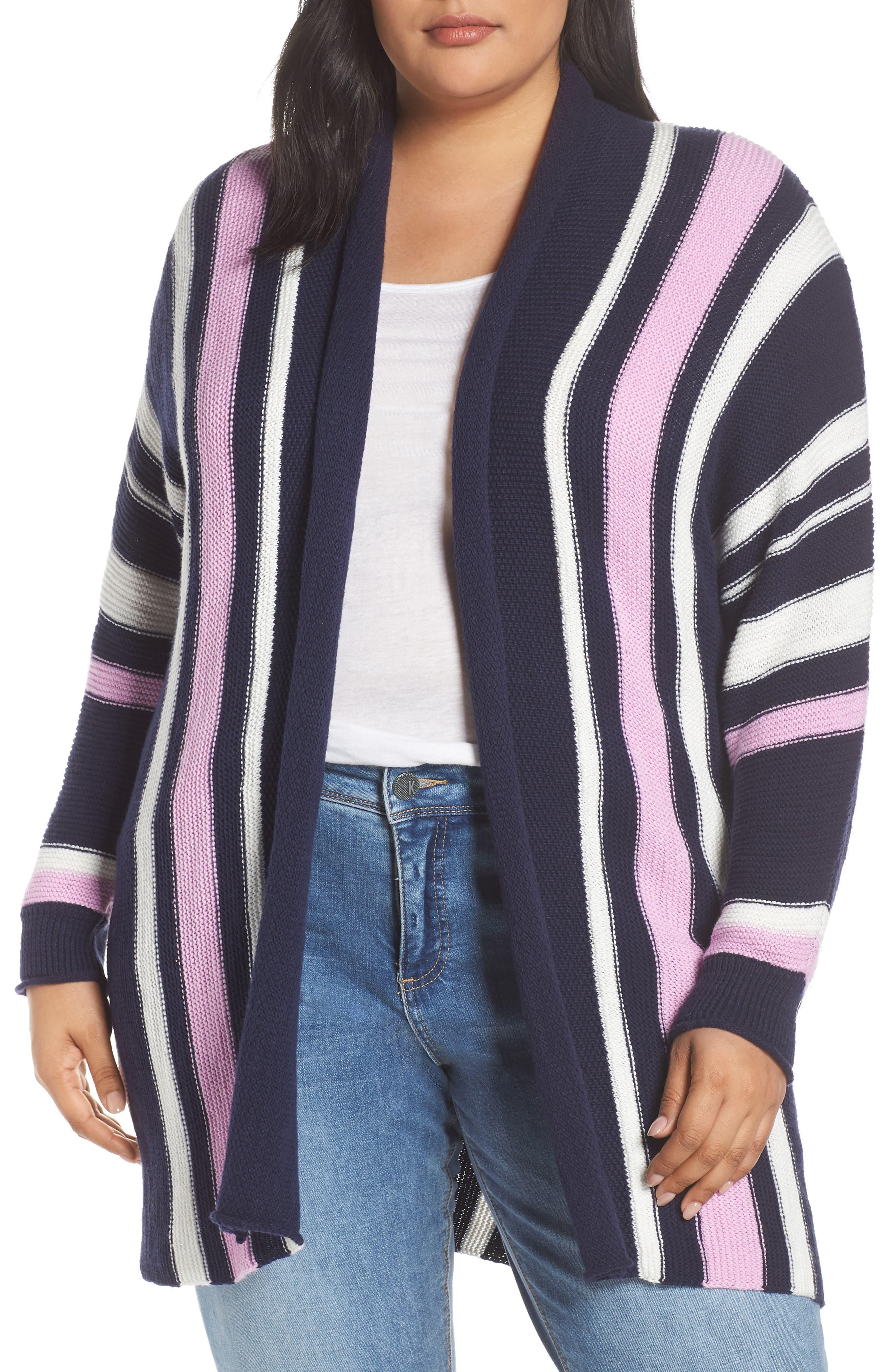 Stripe Open Front Cardigan, Main, color, 410