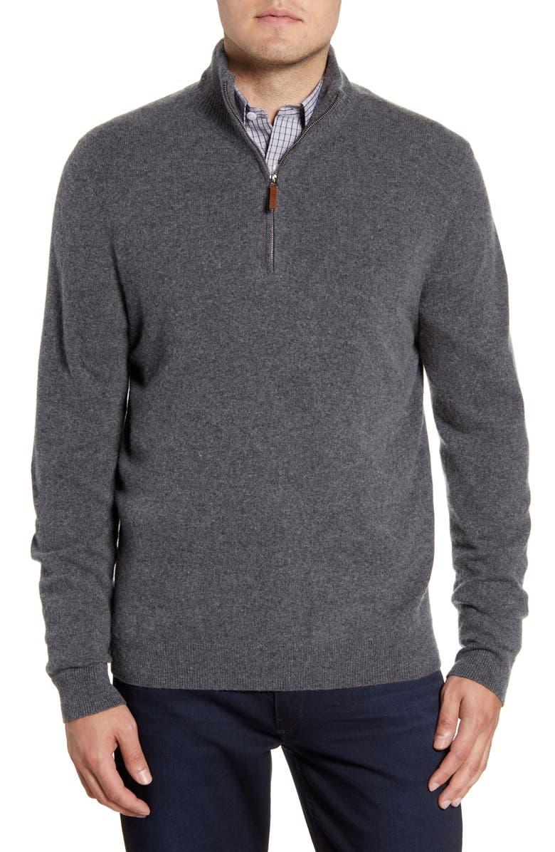 NORDSTROM MEN'S SHOP Regular Fit Cashmere Quarter Zip Pullover, Main, color, GREY SHADE HEATHER