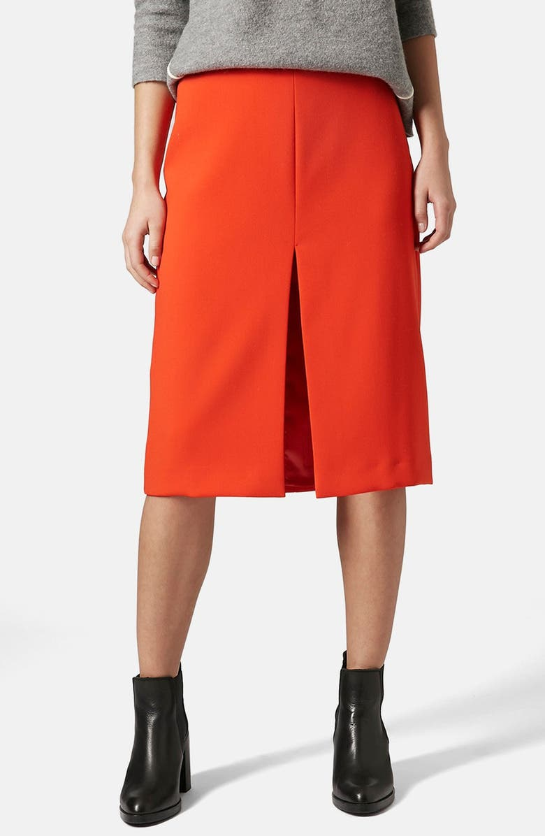 TOPSHOP BOUTIQUE Split Front Midi Skirt, Main, color, 600