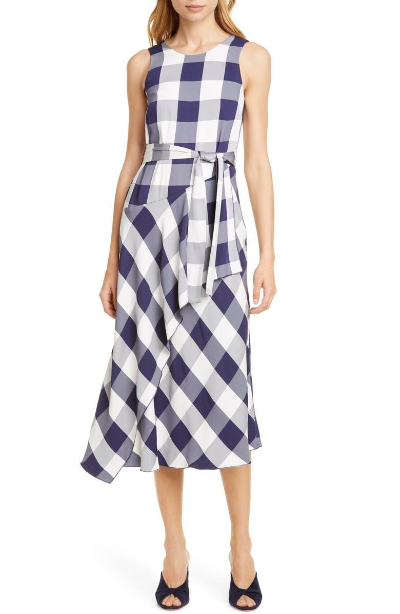 KAREN MILLEN Fluid Gingham Dress, Main, color, 001