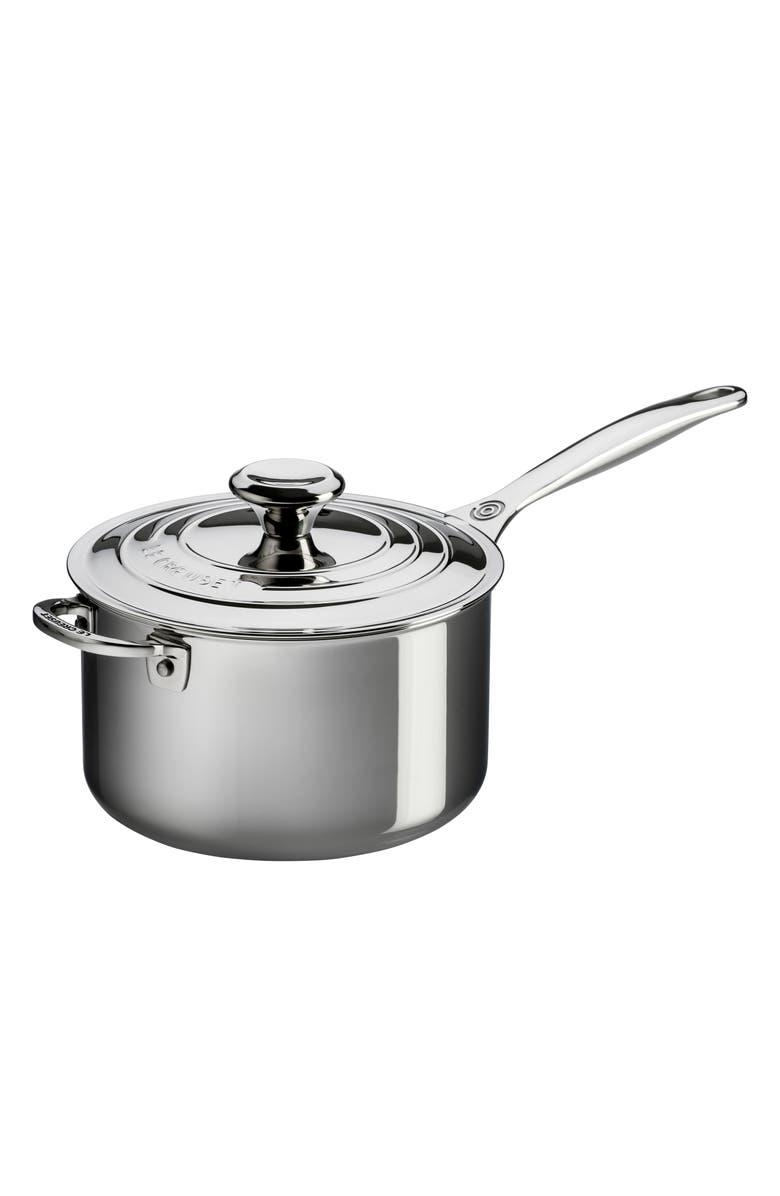 LE CREUSET 4-Quart Stainless Steel Saucepan, Main, color, STANLESS STEEL