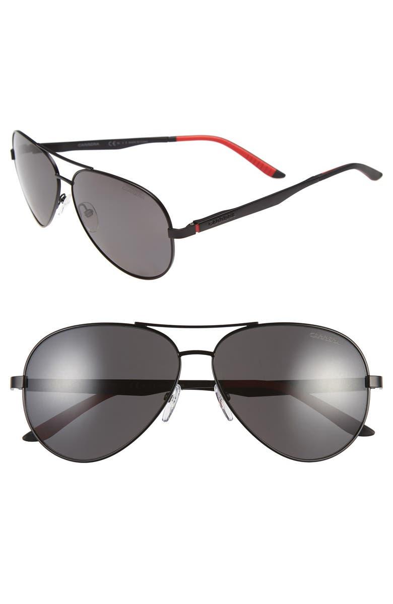 CARRERA EYEWEAR 59mm Metal Aviator Sunglasses, Main, color, MATTE BLACK/ GREY