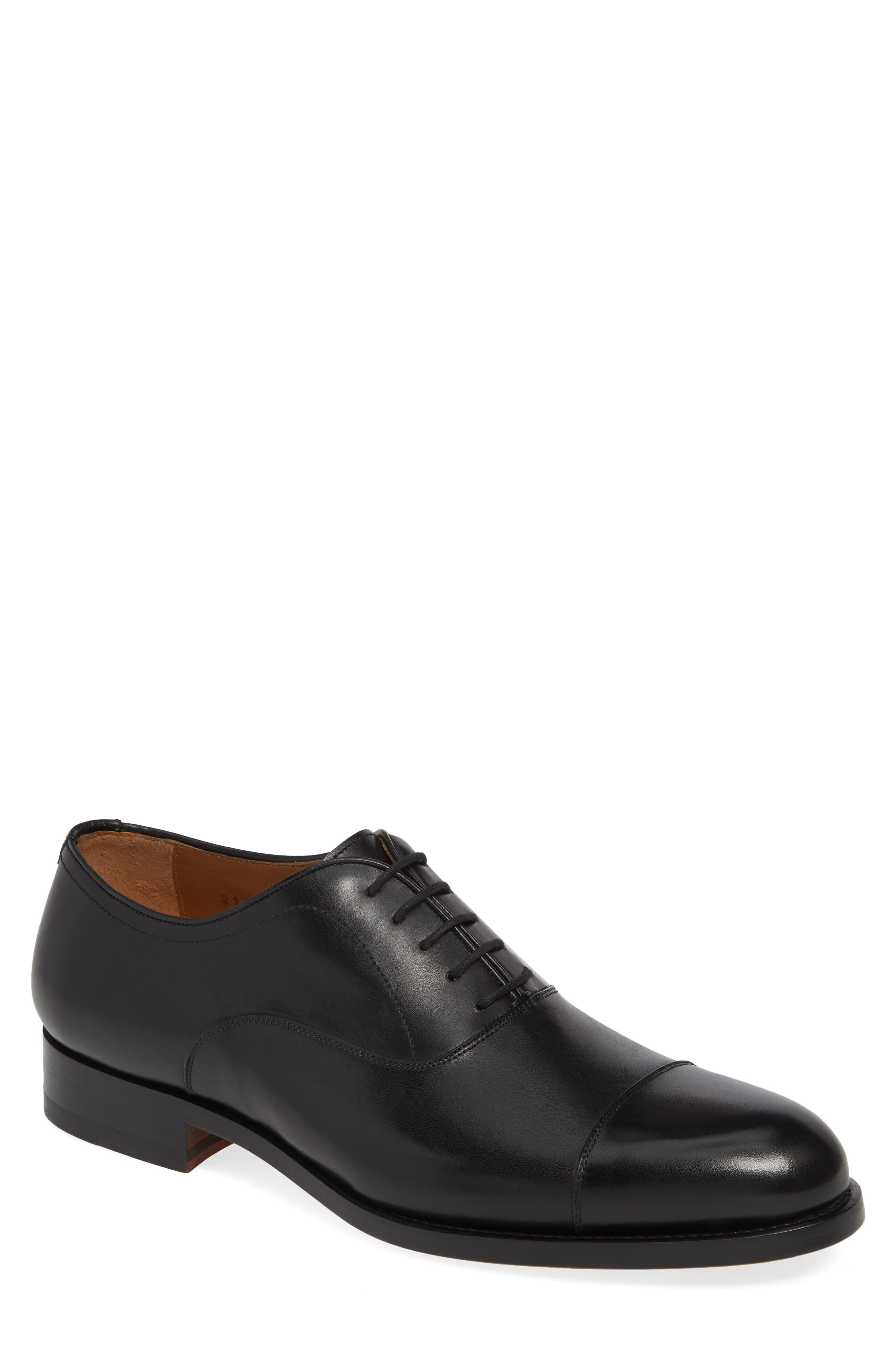 Jefferson Cap Toe Oxford, Main, color, BLACK LEATHER