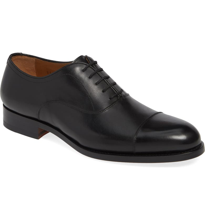MAGNANNI Jefferson Cap Toe Oxford, Main, color, BLACK LEATHER