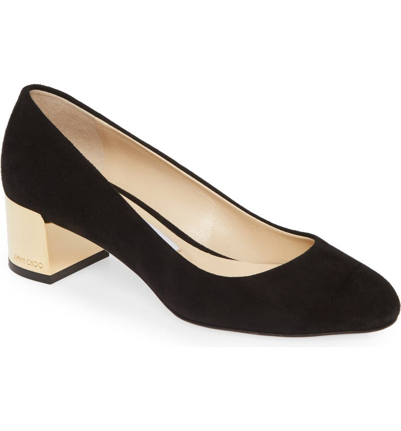 JIMMY CHOO Jessie Block Heel Pump, Main, color, BLACK SUEDE