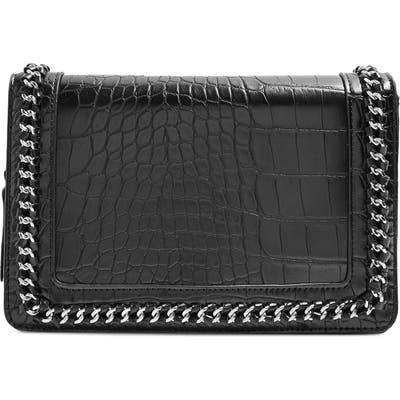 Topshop Cruz Chain Trim Faux Leather Crossbody Bag - Black