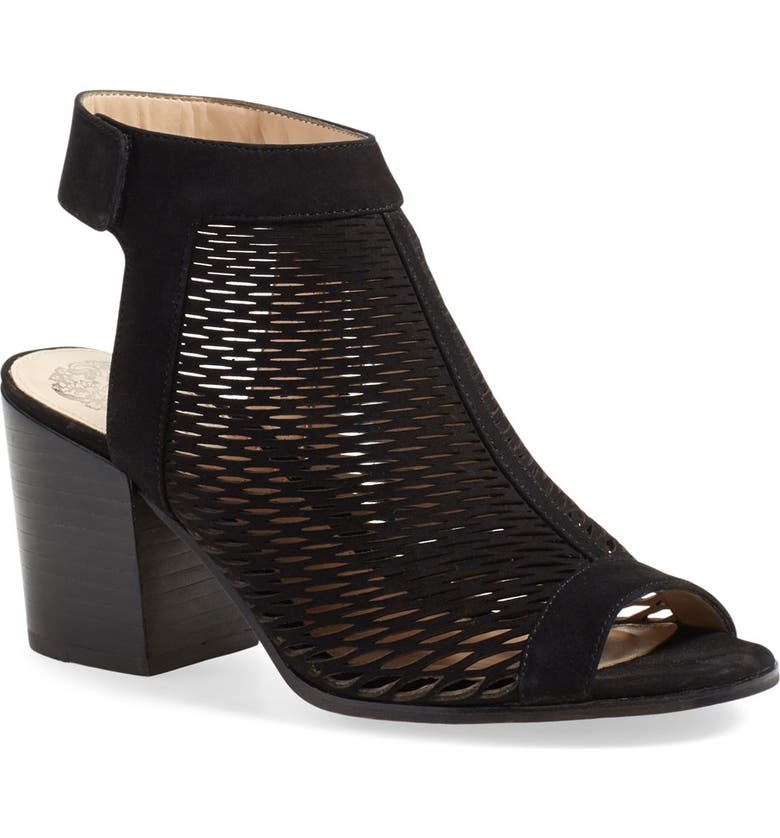 VINCE CAMUTO 'Lavette' Perforated Peep Toe Bootie, Main, color, 001