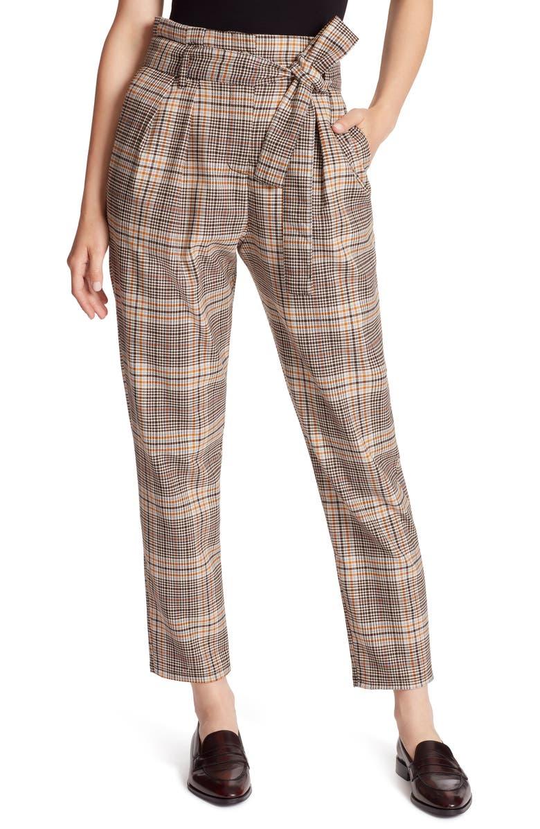 ELLA MOSS Plaid Paperbag Waist Ankle Pants, Main, color, MULTI CHECK