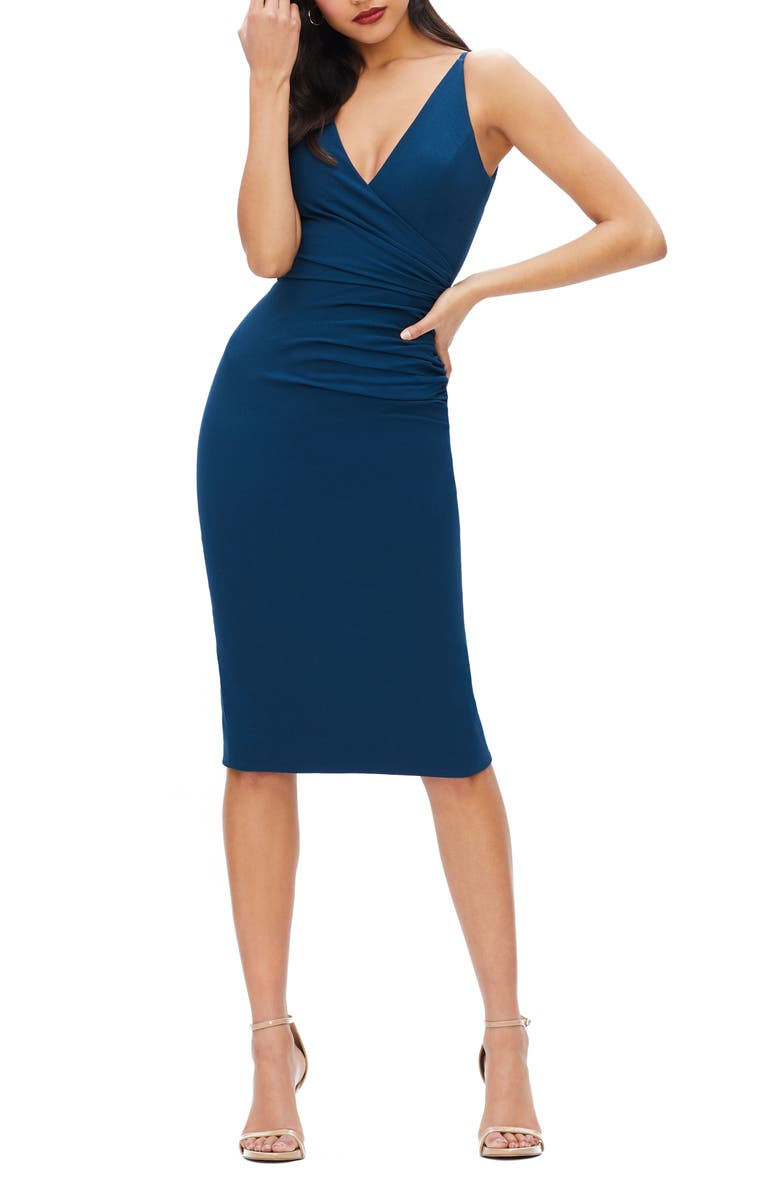 DRESS THE POPULATION Anita Crepe Cocktail Dress, Main, color, PEACOCK BLUE