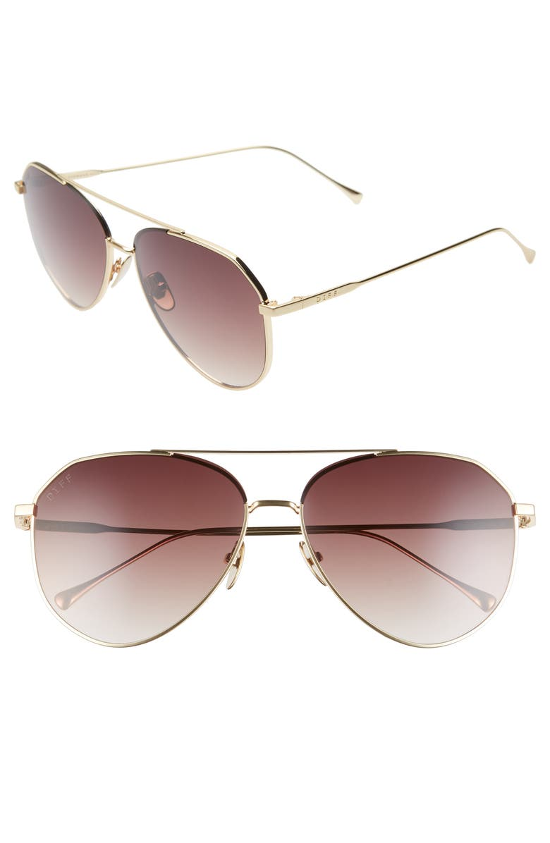 DIFF Dash 59mm Aviator Sunglasses, Main, color, GOLD/ MOCHA TORTOISE