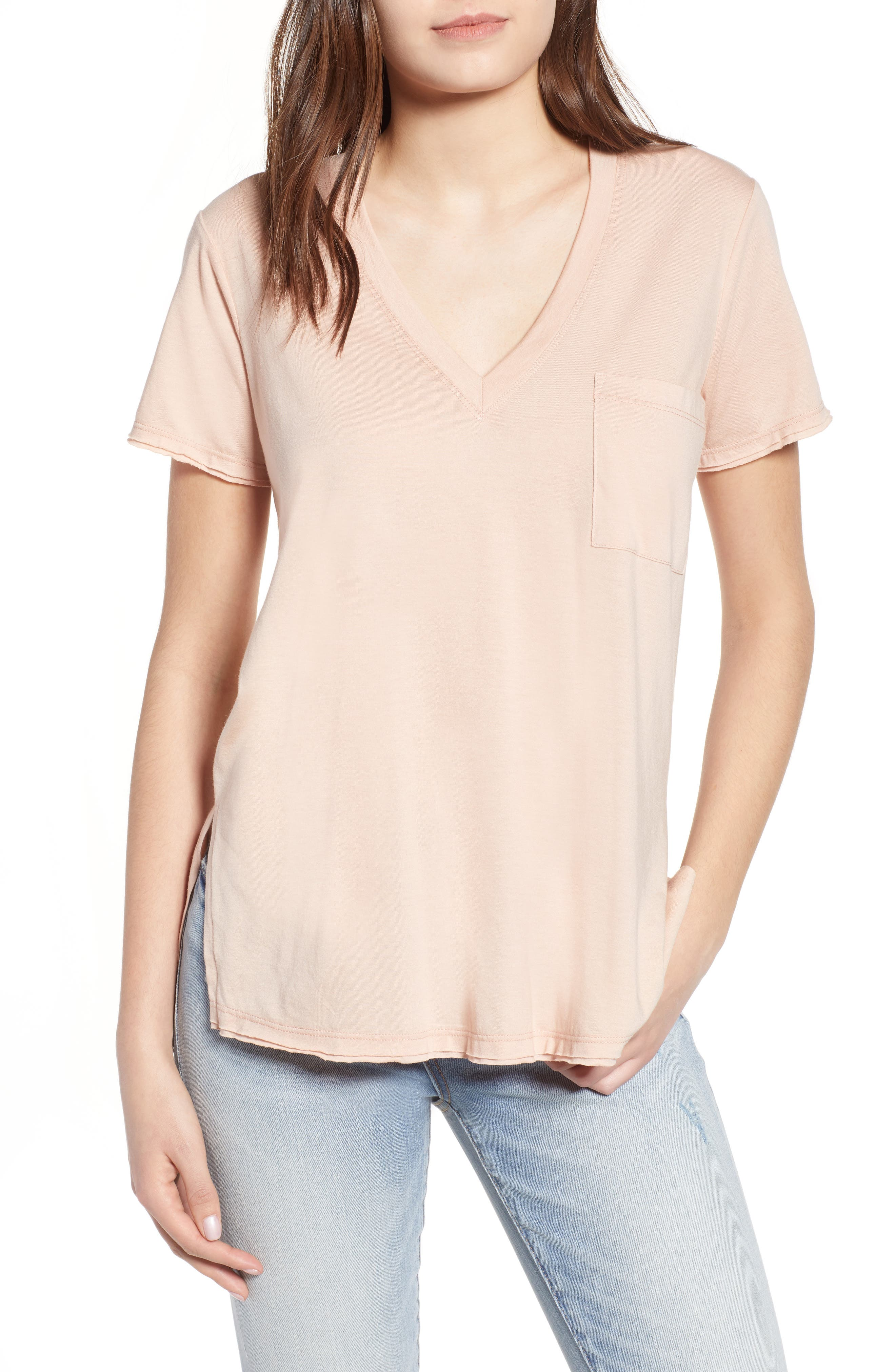 ,                             Raw Edge Side Slit Tee,                             Main thumbnail 7, color,                             650
