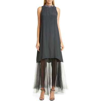 Fabiana Filippi Tulle Hem Maxi Dress, US / 48 IT - Grey