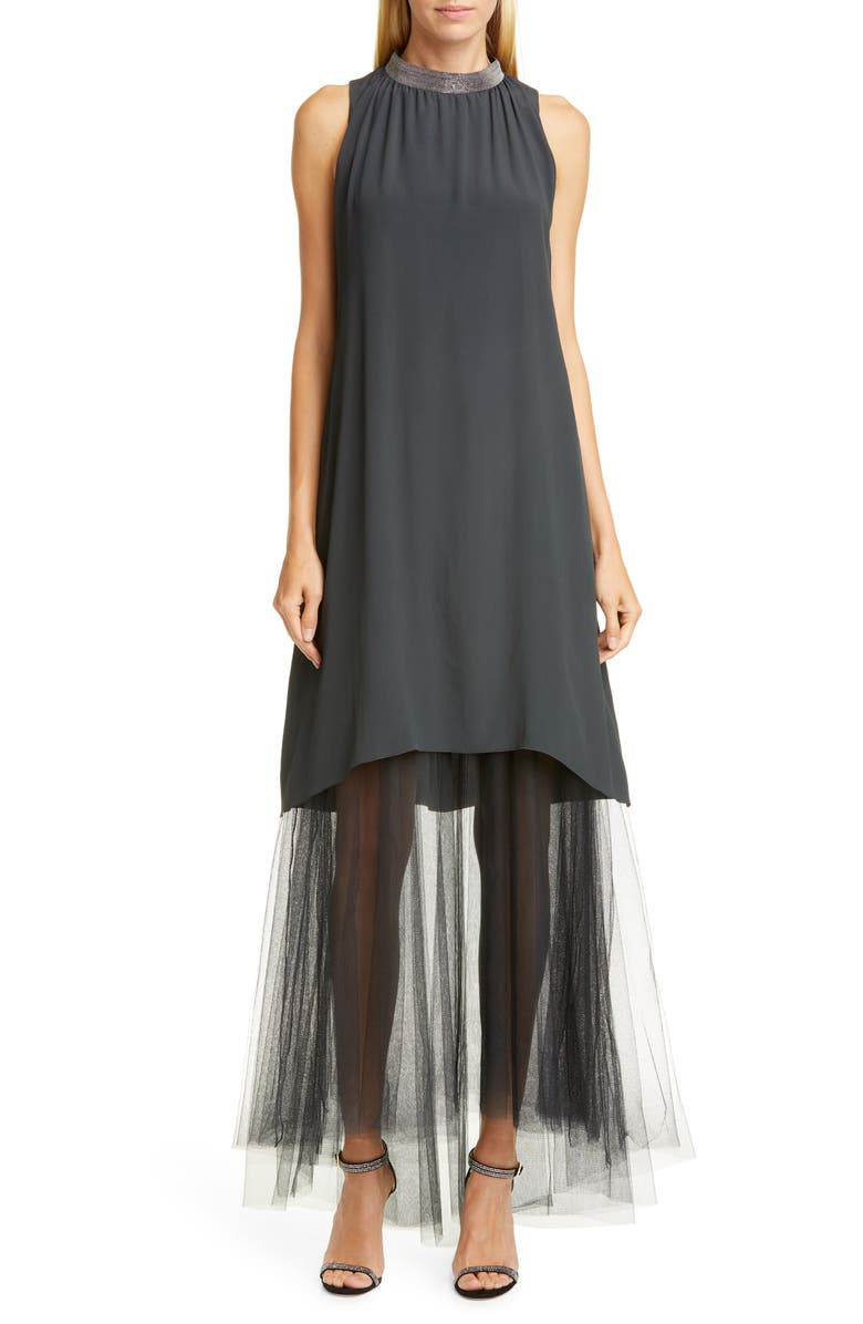 FABIANA FILIPPI Tulle Hem Maxi Dress, Main, color, 020