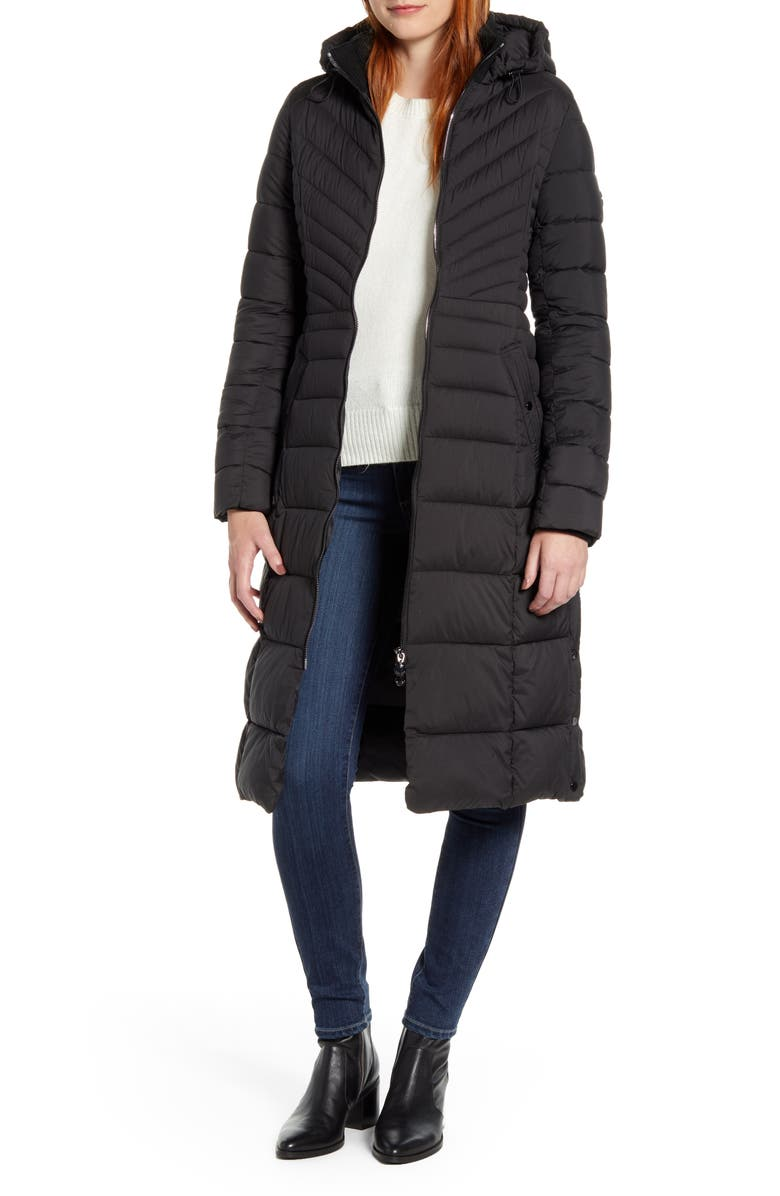 BERNARDO Hooded Long Quilted Coat, Main, color, BLACK