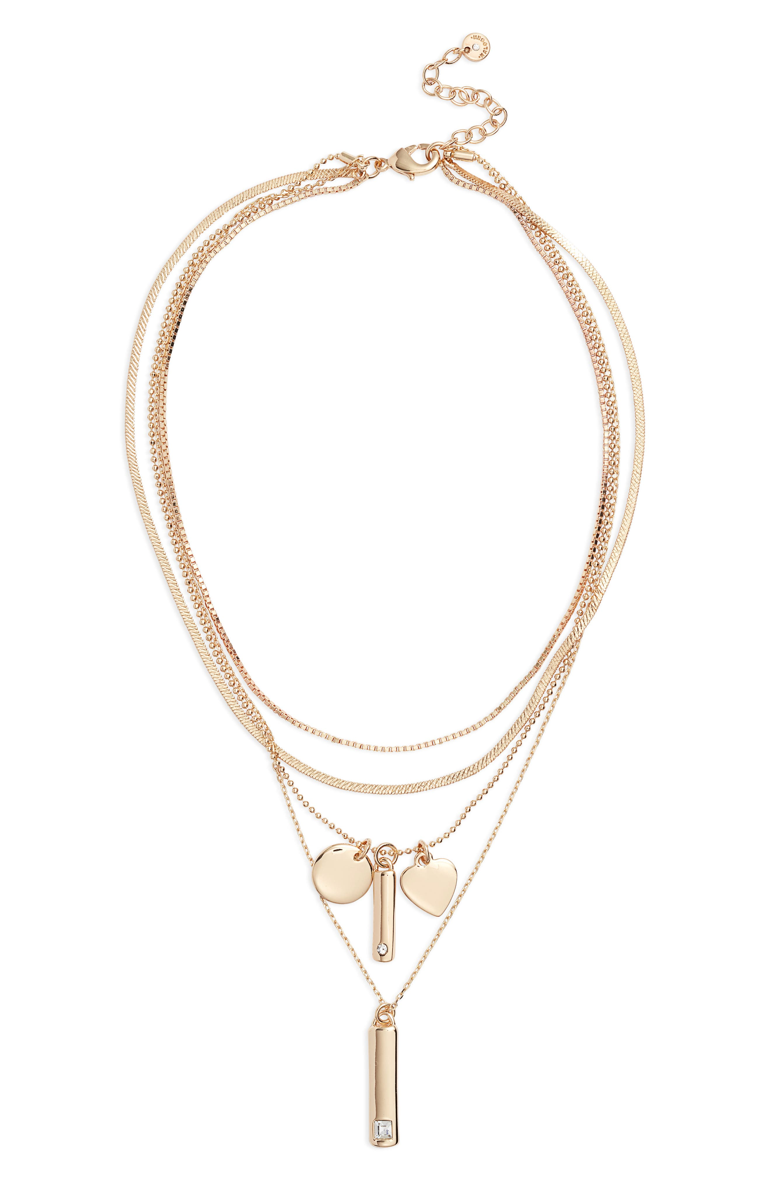 Image of Halogen Tiered Luxe Multi Chain Charm Pendant Necklace