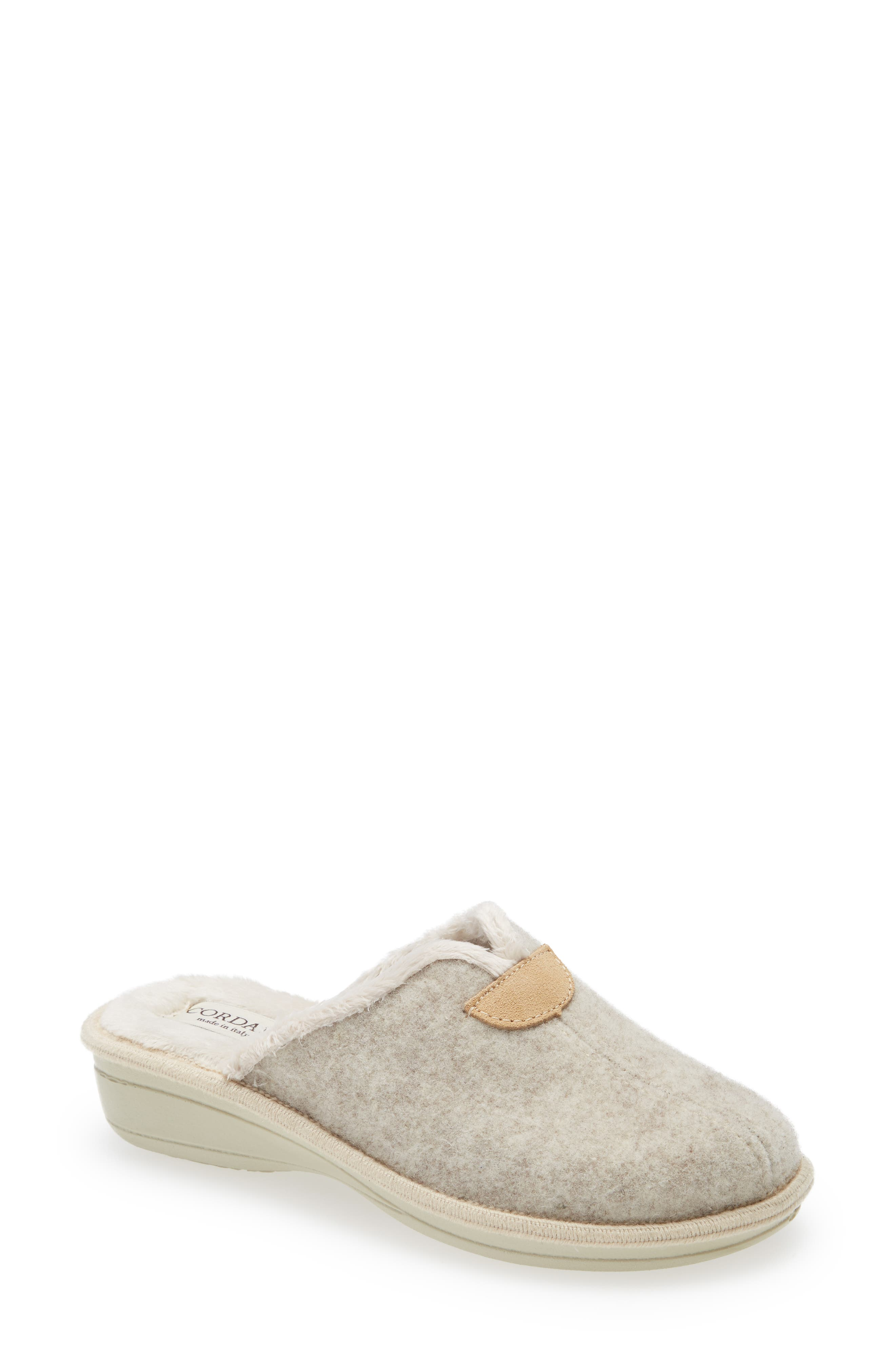 Maddie Wool-Blend Slipper With Faux-Fur Lining