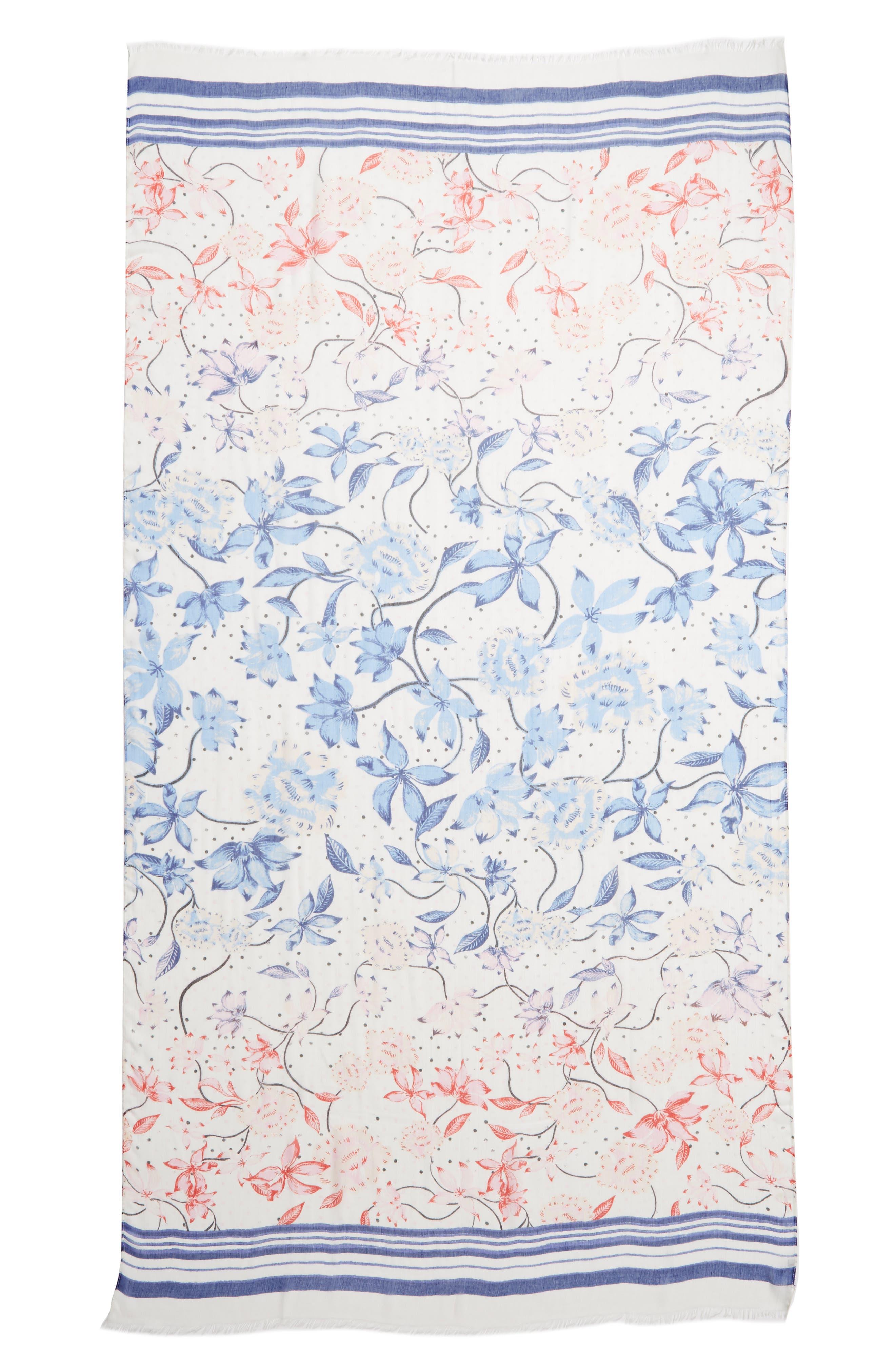 ,                             Print Modal & Silk Scarf,                             Alternate thumbnail 3, color,                             BLUE BLOOM BURST
