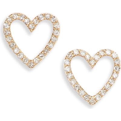 Ef Collection Diamond Open Heart Stud Earrings