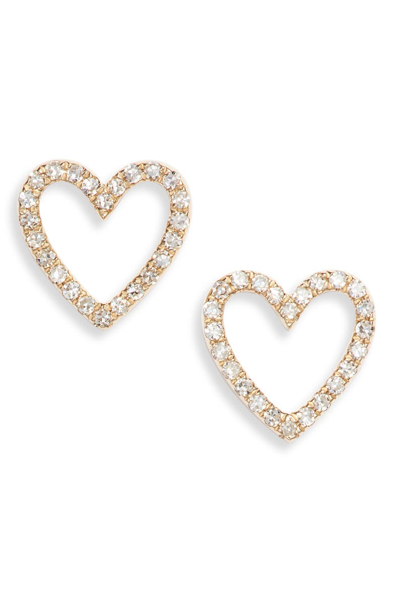 EF COLLECTION Diamond Open Heart Stud Earrings, Main, color, YELLOW GOLD/ DIAMOND