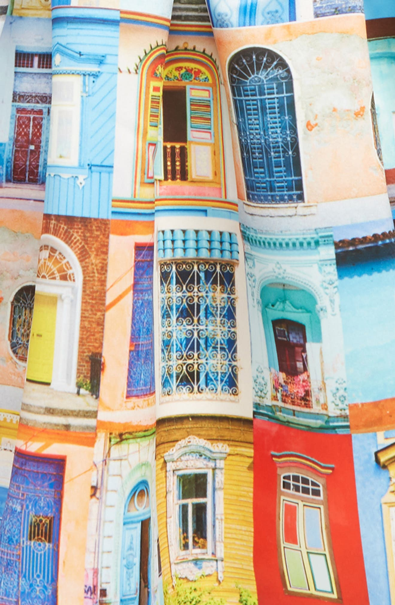 ,                             Doors & Windows Print Dress,                             Alternate thumbnail 3, color,                             MULTI