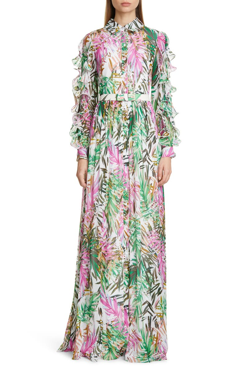 BADGLEY MISCHKA COLLECTION Ruffle Long Sleeve Floral Print Gown, Main, color, WHITE MULTI