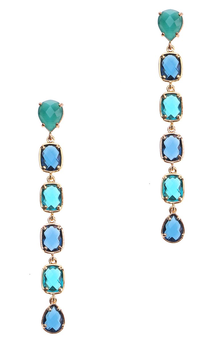 NAKAMOL CHICAGO Linear Stone Earrings, Main, color, BLUE/ GOLD