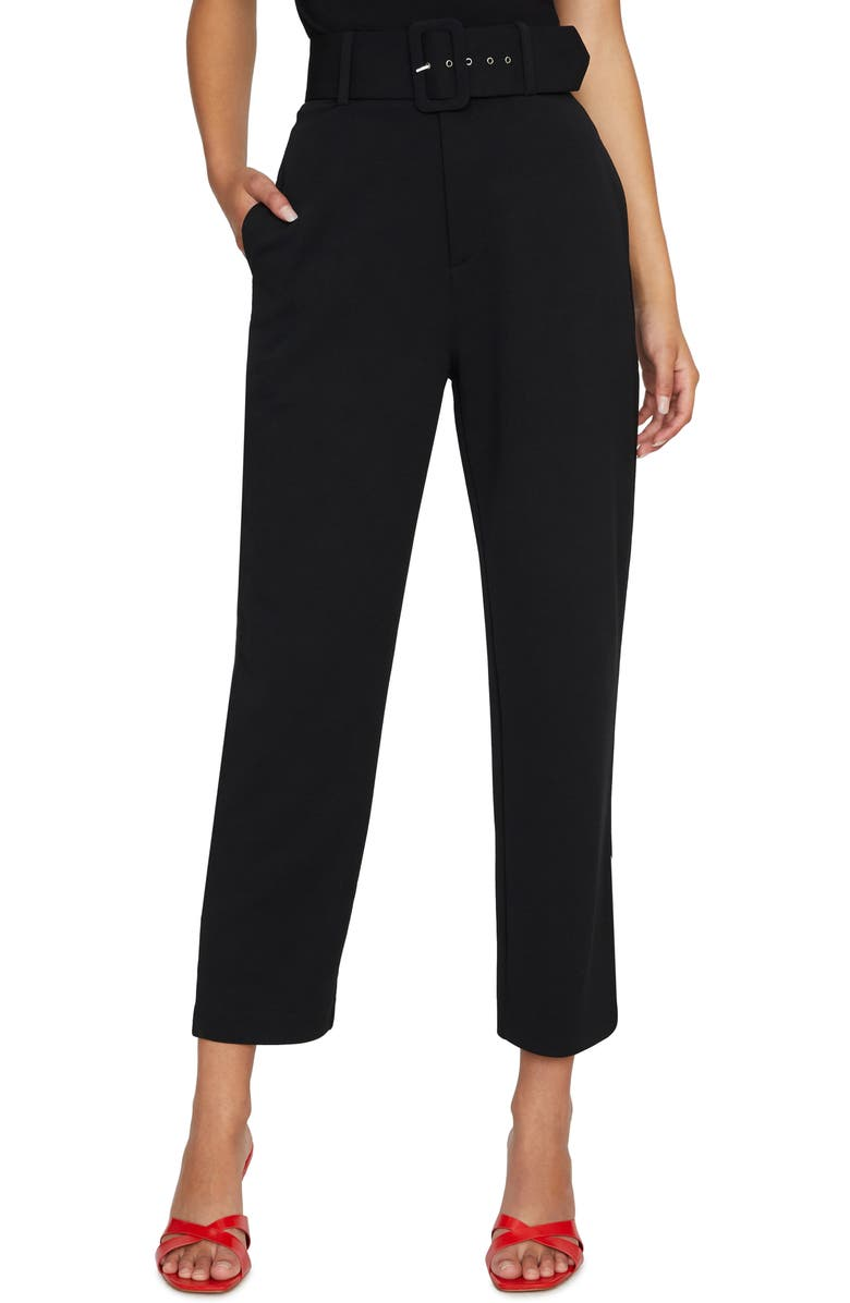 SANCTUARY The Curator Belted Ankle Pants, Main, color, BLACK