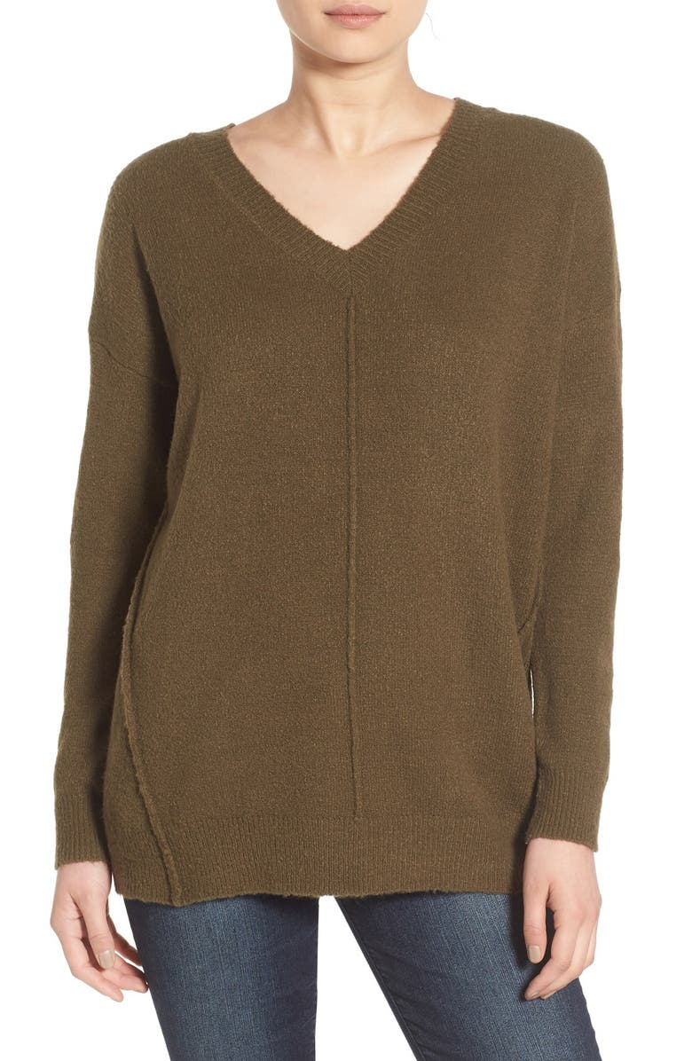 DREAMERS BY DEBUT Seamed V-Neck Pullover, Main, color, 300