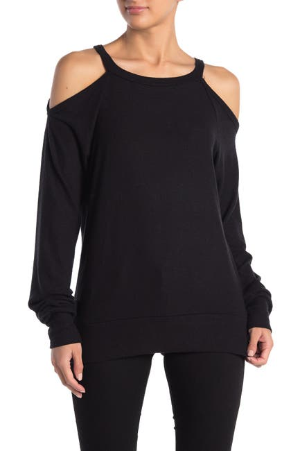 Image of Go Couture Brushed Hacci Cold Shoulder Sweater