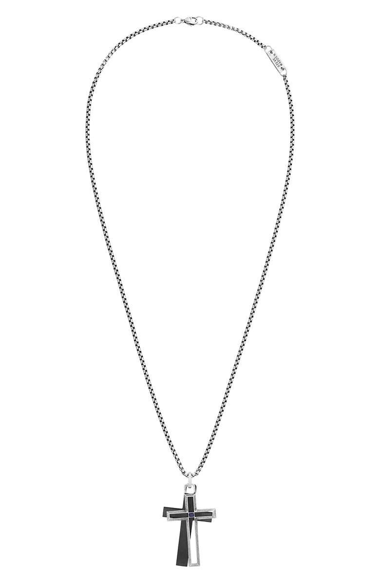 STEVE MADDEN Cross Pendant Necklace with Lapis Lazuli, Main, color, BLACK/ SILVER