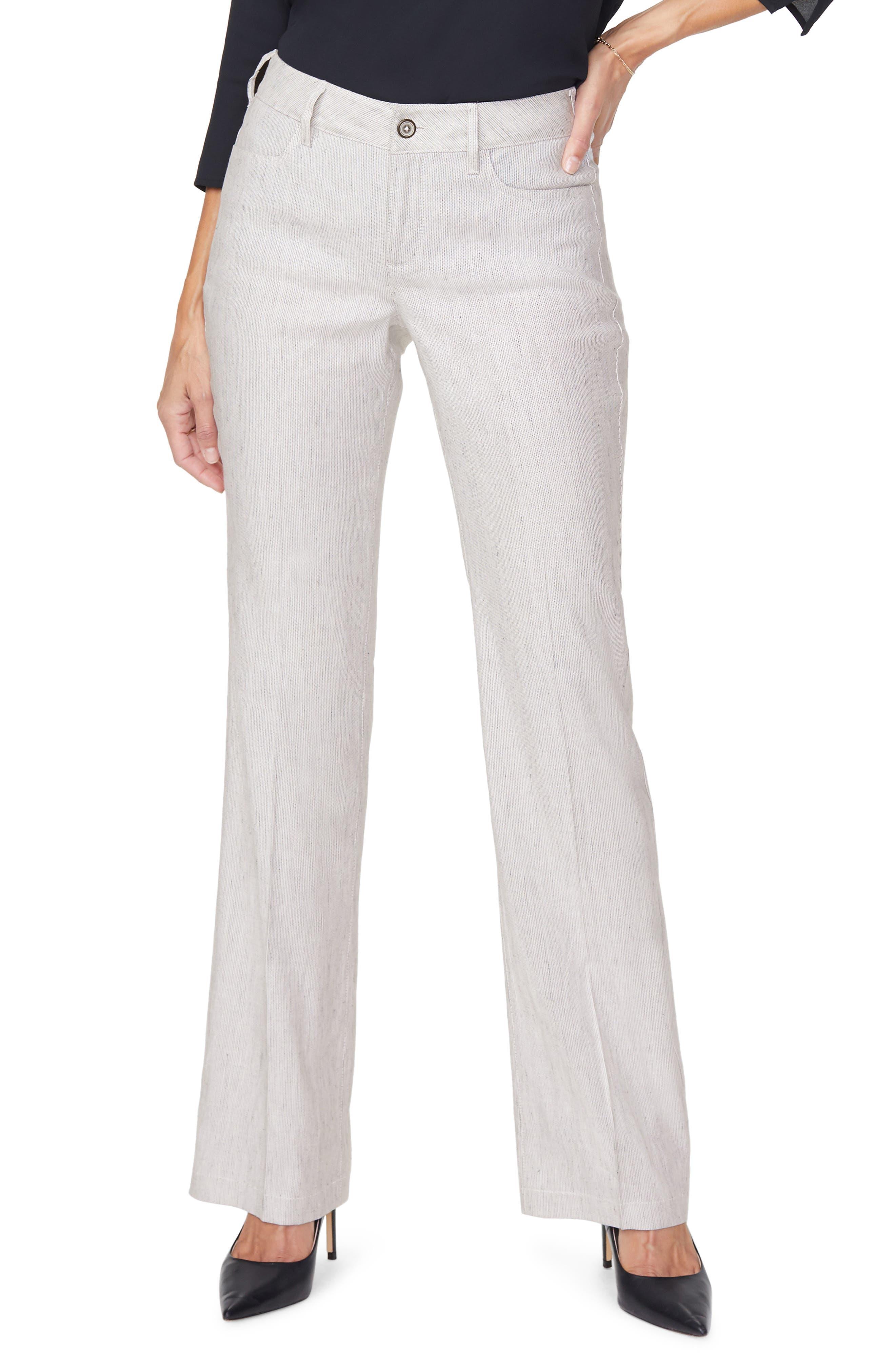 Stripe Wide Leg Linen Blend Pants