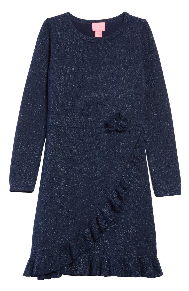 LILLY PULITZER<SUP>®</SUP> Stefani Faux Wrap Sweater Dress, Main, color, TRUE NAVY
