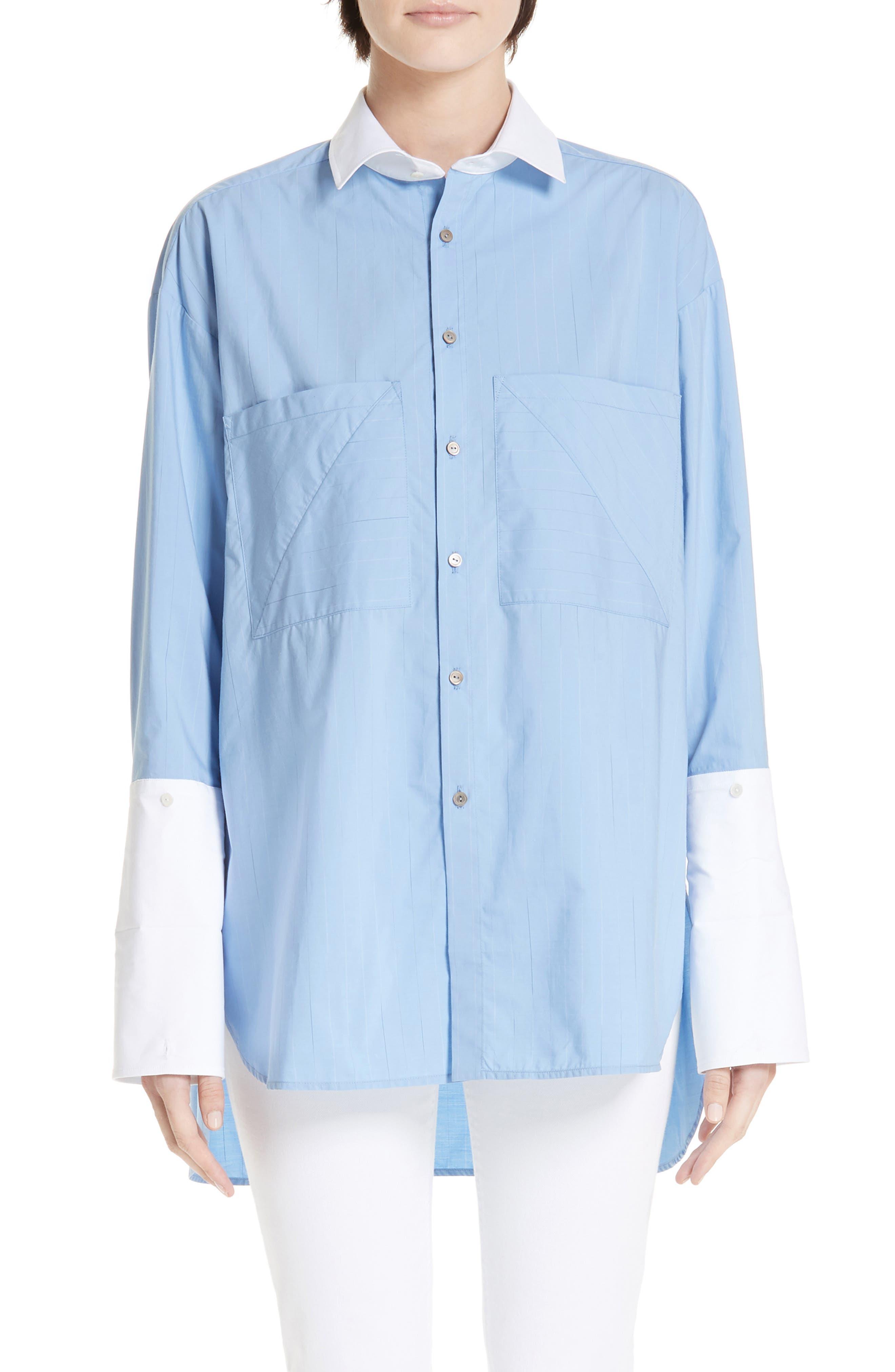 ,                             Oversize Boyfriend Shirt,                             Main thumbnail 1, color,                             BLUE RAIN STRIPE WITH WHITE