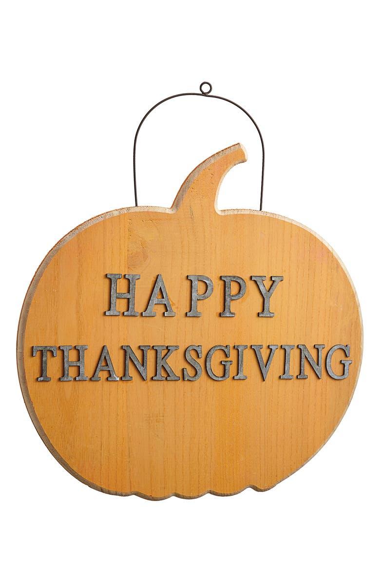 ALLSTATE Happy Thanksgiving Wall Decoration, Main, color, ORANGE GRAY